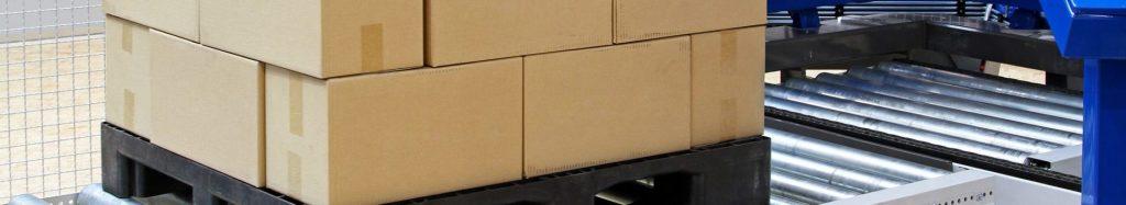 Transitique, convoyeur de palette de bacs de cartons